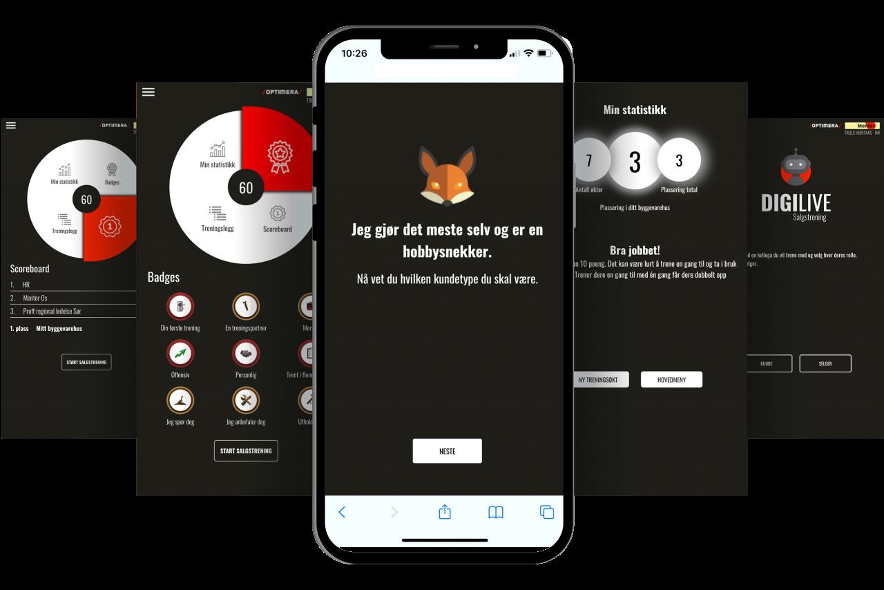 Innhold i optimera app
