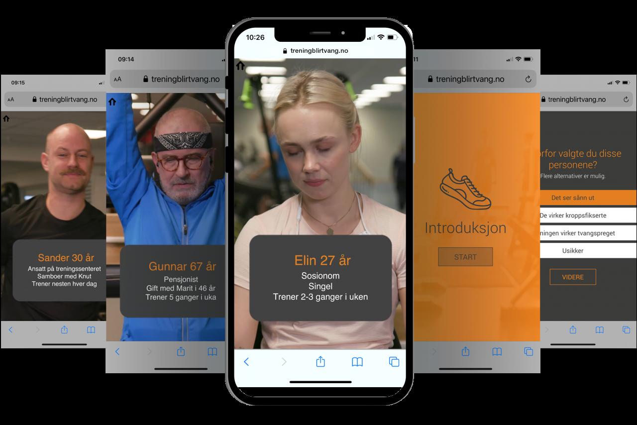 skjermbilder av mobilskjermer for innhold til app